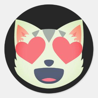 Adesivo Redondo Gato Loving Emoji