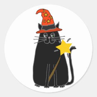 Adesivo Redondo Gato preto legal na arte do Dia das Bruxas do