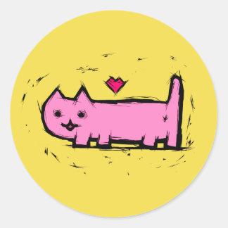 Adesivo Redondo Gato riscado