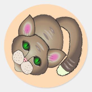 Adesivo Redondo Gato triste