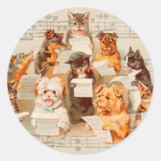 Adesivo Redondo Gatos & cães que cantam, vintage Arthur Thiele