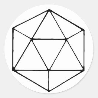 Adesivo Redondo Geek minimalista do Gamer do Tabletop do design