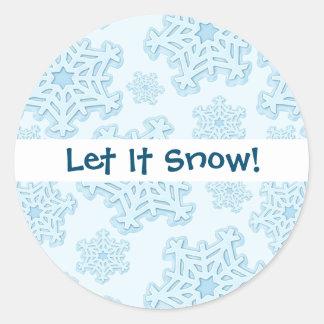 Adesivo Redondo Gelo azul do Xmas da neve de Yule do Natal do