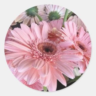 Adesivo Redondo gerberas cor-de-rosa
