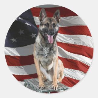 Adesivo Redondo German shepherd EUA - cão patriótico - bandeira