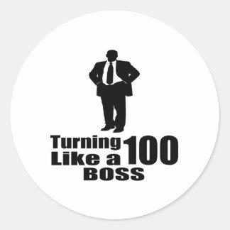 Adesivo Redondo Girando 100 como um chefe