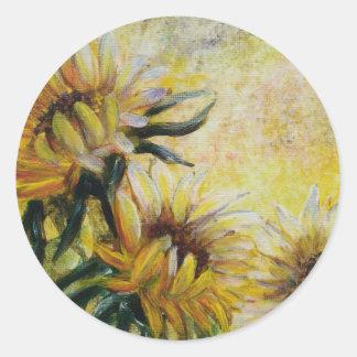 Adesivo Redondo Girassóis da manhã, pintura floral