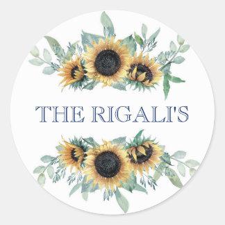 Adesivo Redondo Girassol e casamento botânico floral dos azuis