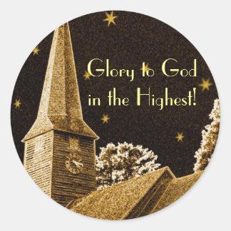 Adesivo Redondo Glória ao deus no mais alto!