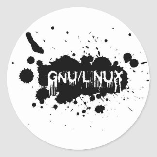 Adesivo Redondo Gnu/Linux Slash