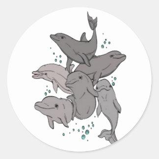 Adesivo Redondo Golfinhos brincalhão