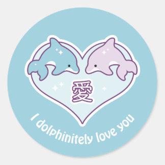 Adesivo Redondo Golfinhos do amor de Kawaii