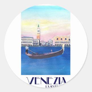 Adesivo Redondo Gôndola de Veneza Italia no canal grande com San