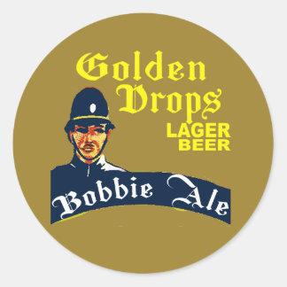 Adesivo Redondo Gotas douradas/cerveja inglesa de Bobbie