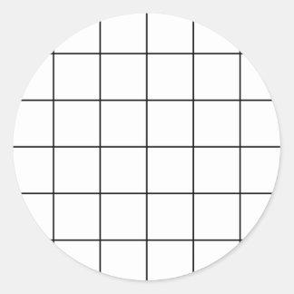 Adesivo Redondo grade preta,    fundo branco
