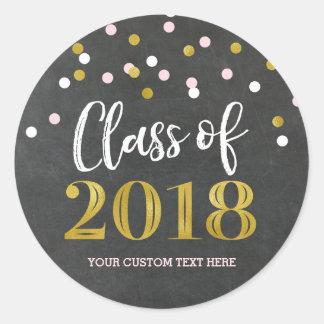 Adesivo Redondo Graduação cor-de-rosa 2018 dos confetes do ouro do