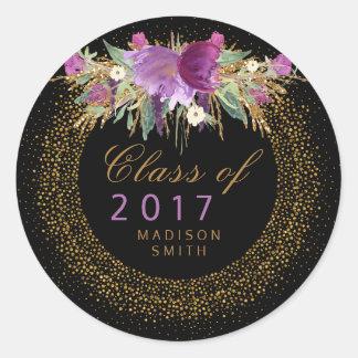 Adesivo Redondo Graduação dos confetes do ouro da flor da aguarela