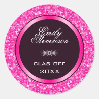 Adesivo Redondo Graduações do Glitter- do rosa quente