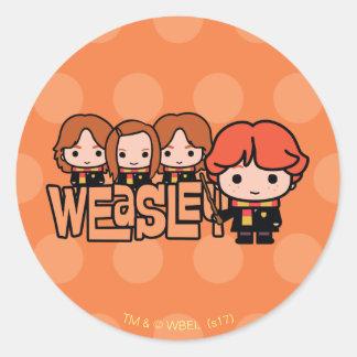Adesivo Redondo Gráfico de Weasley Siblilings dos desenhos