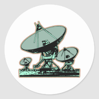 Adesivo Redondo Gráfico retro da antena parabólica