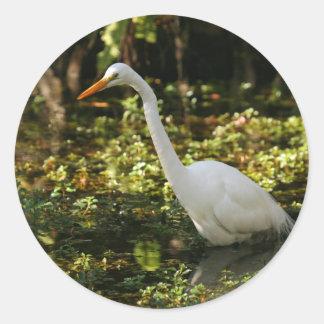 Adesivo Redondo Grande Egret que vadeia nos marismas