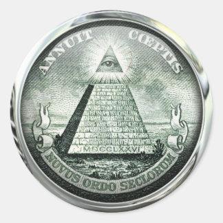 Adesivo Redondo Grande selo de Illuminati E.U.