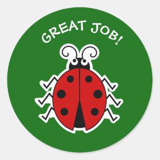 Adesivo Redondo Grande verde dos professores do joaninha do