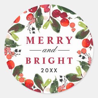 Adesivo Redondo Grinalda alegre e brilhante do Natal da aguarela