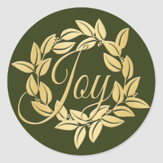 Adesivo Redondo Grinalda clássica da alegria da folha de louro da