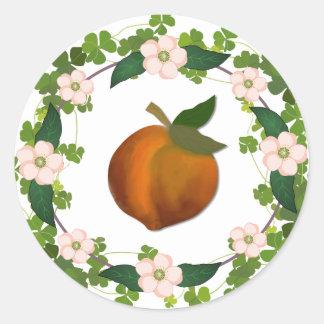 Adesivo Redondo Grinalda da flor do pêssego