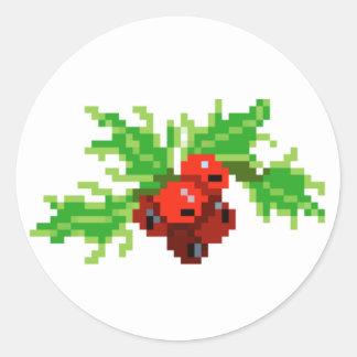 Adesivo Redondo Grinalda do azevinho da arte do pixel