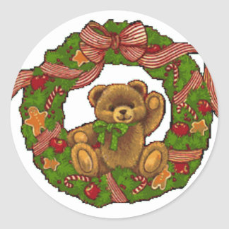 Adesivo Redondo Grinalda do urso de ursinho do Natal