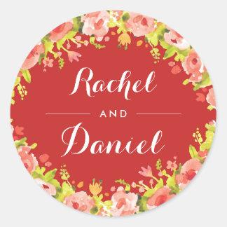 Adesivo Redondo Grinalda floral da aguarela que Wedding em volta