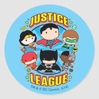 Adesivo Redondo Grupo da liga de justiça de Chibi