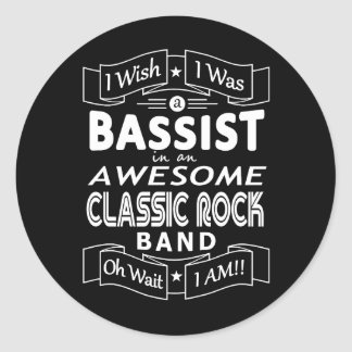 Adesivo Redondo Grupo de rock clássico impressionante do BAIXISTA