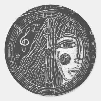 Adesivo Redondo Guardião da música, arte do Hippie, músico,