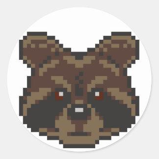 Adesivo Redondo Guaxinim da Pixel-Arte
