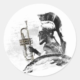 Adesivo Redondo Guerreiro da trombeta