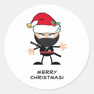 Adesivo Redondo Guerreiro personalizado de Papai Noel Ninja