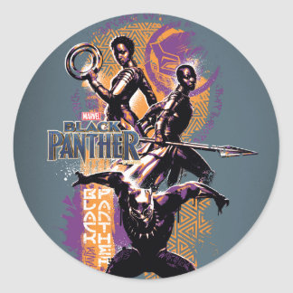Adesivo Redondo Guerreiros da pantera preta | Wakandan pintados