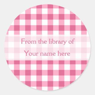 Adesivo Redondo Guingão cor-de-rosa da biblioteca dos Bookplates