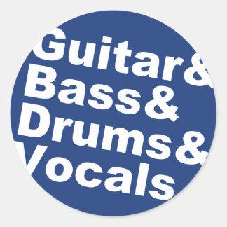 Adesivo Redondo Guitar&Bass&Drums&Vocals (branco)