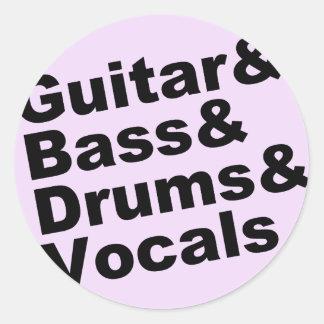 Adesivo Redondo Guitar&Bass&Drums&Vocals (preto)