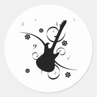 Adesivo Redondo Guitarra elétrica preta com teste padrão floral