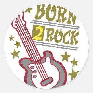 Adesivo Redondo Guitarra nascida da rocha, design do guitarrista