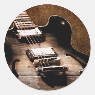 Adesivo Redondo Guitarra ocidental de madeira da música country do