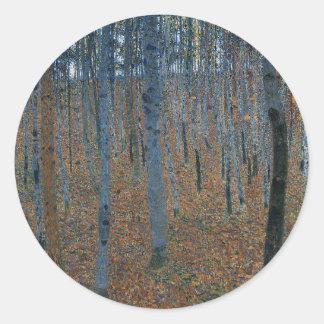 Adesivo Redondo Gustavo Klimt - bosque da faia. Animais selvagens