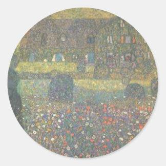 Adesivo Redondo Gustavo Klimt - casa de campo pela arte de