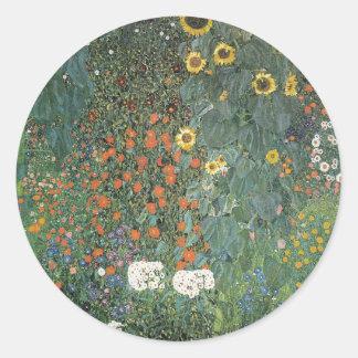 Adesivo Redondo Gustavo Klimt - flores dos girassóis do jardim do