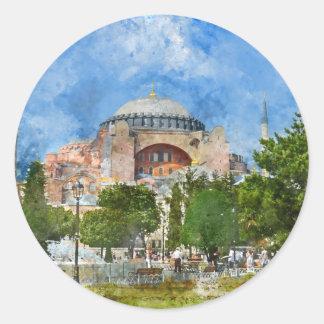Adesivo Redondo Hagia Sophia em Sultanahmet, Istambul